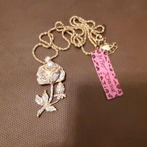 Betsy Johnson Gold Rose Necklace